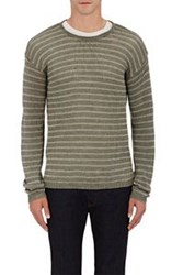 John Varvatos Star U.S.A. Striped Crewneck Sweater Green