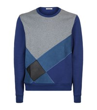 Burberry Suede And Leather Check Sweater Male Indigo