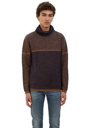 Fendi Two Tone Diagonal Knit Roll Neck Sweater Brown