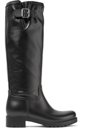 Maison Martin Margiela Mm6 Coated Canvas And Rubber Rain Boots Black