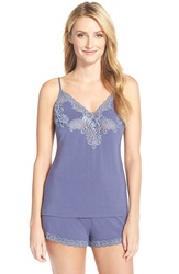 Natori 'Feathers' Lace Camisole And Tap Shorts Slate Blue