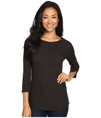 Three Dots Ariella Boat Neck Tee Deep Hazel Women's Clothing Black