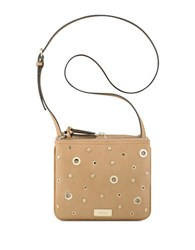 Nine West Jaya Double Top Zip Crossbody Bag Dark Camel