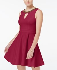 Xoxo Juniors' Beaded Fit And Flare Dress Cranberry