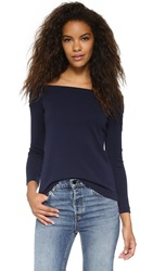 Tibi Off Shoulder Long Sleeve Top Navy