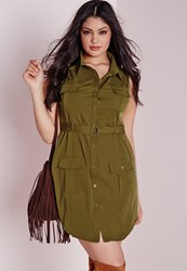 Missguided Plus Size Pocket Button Front Dress Khaki Beige