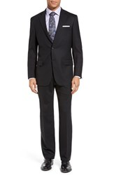 Hart Schaffner Marx Men's Big And Tall 'New York' Classic Fit Worsted Wool Blend Suit Black