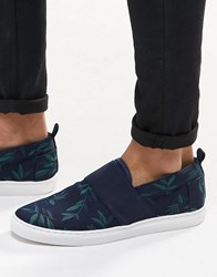 Asos Slip On Plimsolls In Floral Hawaiian Print And Elastic Strap Navy
