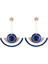 Tory Burch Enamel Half Moon Earrings Blue