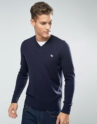 Abercrombie And Fitch V Neck Jumper Icon Logo Fine Knit In Navy Navy