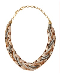 Greenbeads Braided Bead Statement Necklace Rose Golden