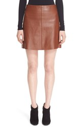 Theory Women's 'Irenah L Wilmore' Lambskin Leather A Line Skirt Classic Brown