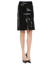 Tamara Mellon Patent Leather Pencil Skirt Black