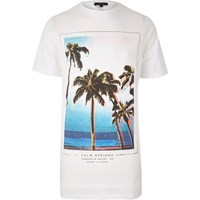 River Island Mens White Palm Tree Print Longline T Shirt