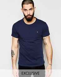 Farah T Shirt With F Logo Muscle Fit Exclusive Navy