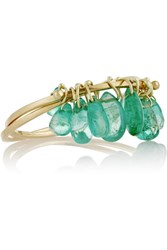 Inez And Vinoodh 18 Karat Gold Emerald Interlinked Rings Green