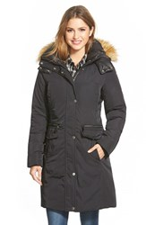 Women's Marc New York 'Warby' Faux Fur Trim Long Down And Feather Fill Parka Black
