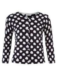 Hobbs Mono Floral Cardigan Navy Ivory