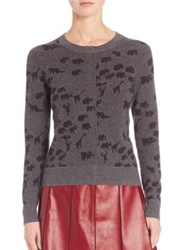 Marc Jacobs Animal Print Cashmere Sweater Grey