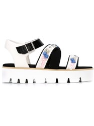 Msgm Embellished Strappy Sandals White