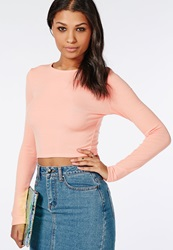 Missguided Ribbed Long Sleeve Crop Top Peach