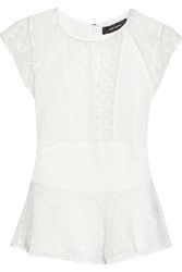 Isabel Marant Vermer Embroidered Silk Organza Peplum Top White