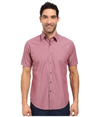 James Campbell Liano Short Sleeve Woven Wine Men's Short Sleeve Button Up Burgundy