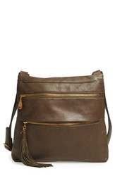 Hobo 'Miles' Leather Crossbody Bag Green Cypress