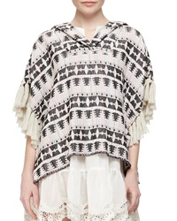 Thakoon Addition Tribal Pattern Tweed Pullover Black Blush