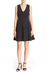 Rebecca Taylor Women's Diamond Texture Fit And Flare Dress Black