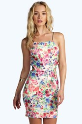 Boohoo Floral Cut Out Strappy Bodycon Dress Multi
