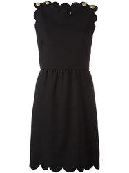 Red Valentino Scalloped Cady Dress Black