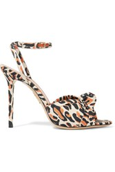 Charlotte Olympia Izzy Printed Canvas Sandals Cream