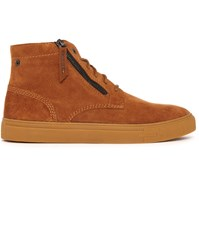 Diesel Camel Klawyn Mid Suede Chukka With Front Zip And Gum Sole