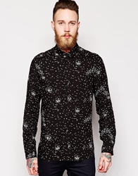 Asos Smart Shirt In Long Sleeve With Heart Print Black