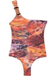 Lygia And Nanny One Shoulder Printed Swimsuit Yellow And Orange