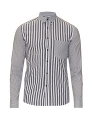 Ami Alexandre Mattiussi Contrast Stripe Cotton Shirt Black Multi