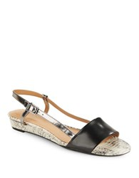 Calvin Klein Prima Leather Slingback Wedge Sandals Black White
