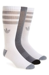 Adidas Men's 'Original' Cushioned Crew Socks White Grey Onix Marl