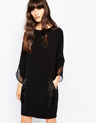 Paisie Shift Dress With Organza Cuffs Black