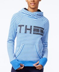 Tommy Hilfiger Striped Logo Sweatshirt A Macy's Exclusive Style Electric Blue