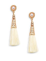 Cara Faux Pearl Top Tassel Earrings Ivory