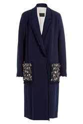By Malene Birger Coat With Embellished Pockets Blue