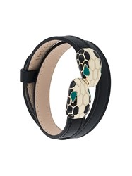 Bulgari Snake Embellished Double Bracelet Black