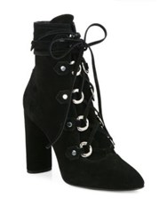Casadei Lace Up Suede Block Heel Booties Nero