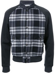 Tomas Maier Checked Bomber Jacket Grey