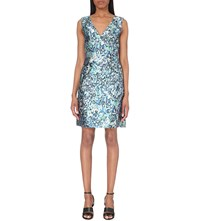 Reiss Allium Metallic Dress Ice Blue Steel