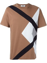 Msgm Paneled T Shirt Nude Neutrals
