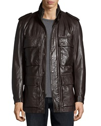 Andrew Marc New York Tompkins Utility Pocket Leather Jacket Dark Brown