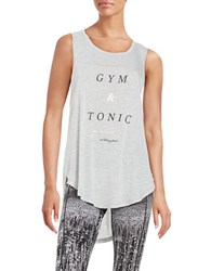 Betsey Johnson Gym And Tonic Tank Light Grey